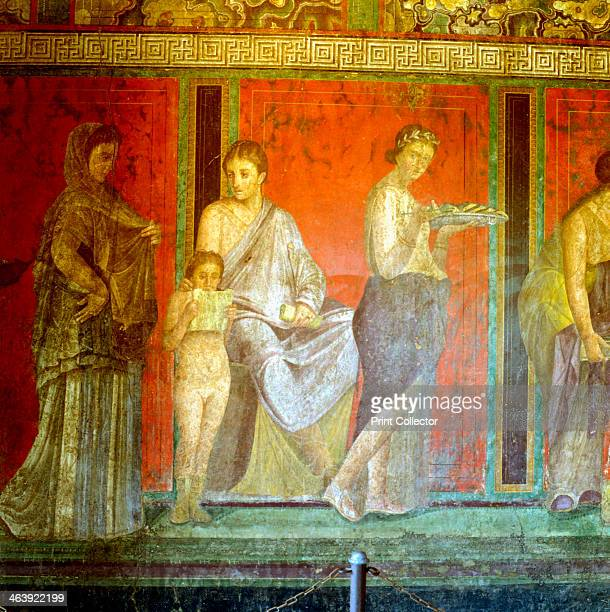 Fresco from the Villa of the Mysteries, dedicated to the rites of Dionysius, Pompeii, Italy, c1st century BC-1st century AD. Detail showing two...