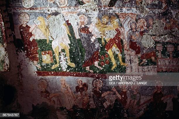 Fresco in a cave church in Goreme Cappadocia Central Anatolia Turkey