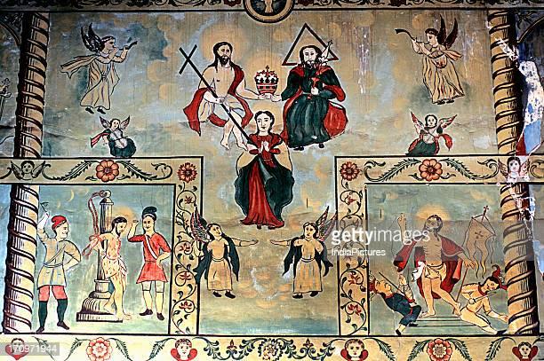 Fresco in St George Orthodox Syrian Church in Cheppaud near Kollam Kerala India