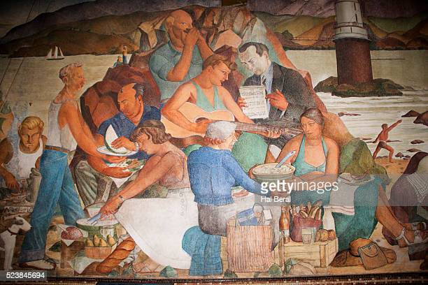 fresco in the beach chalet showing a beach picnic - wpa stock pictures, royalty-free photos & images