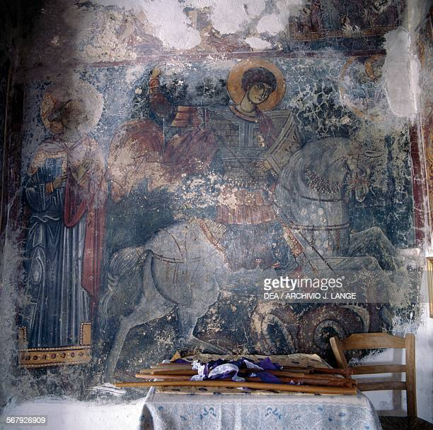 Fresco in the Byzantine Church of Agios Georgios Anidri Crete Greece
