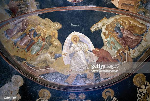 Fresco in the Parecclesion depicting the Anastasis, Christ pulling Adam and Eve out their tombs, Entoured by the righteous kings and Saint John the...