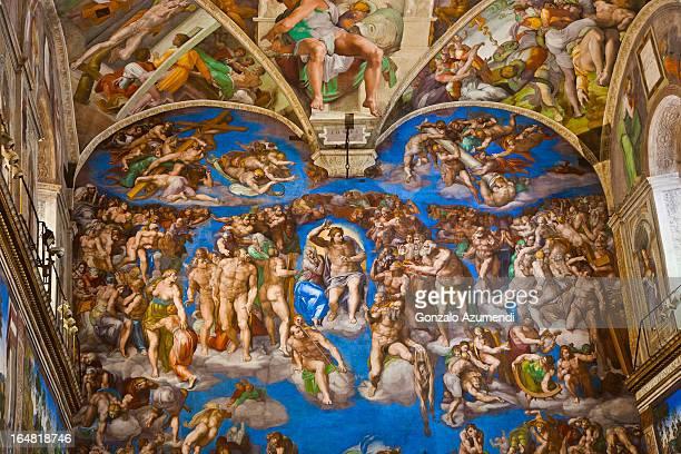 fresco in the sistine chapel. - cappella sistina foto e immagini stock
