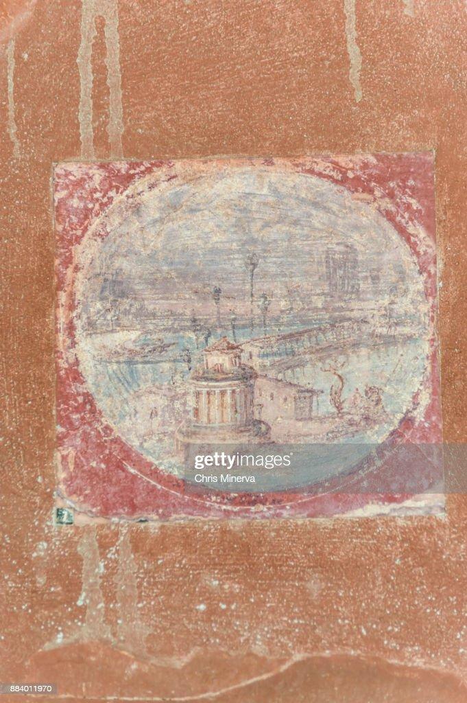 Fresco Of A City In Roman Ruins Of Villa San Marco Stock Photo ...