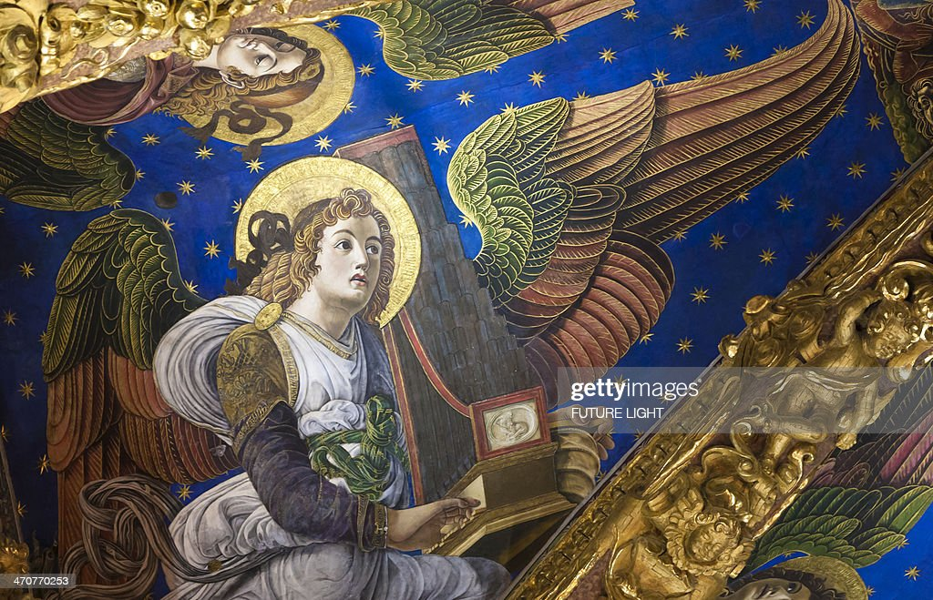 Fresco of Angel in Valencia Cathedral : Stock Photo