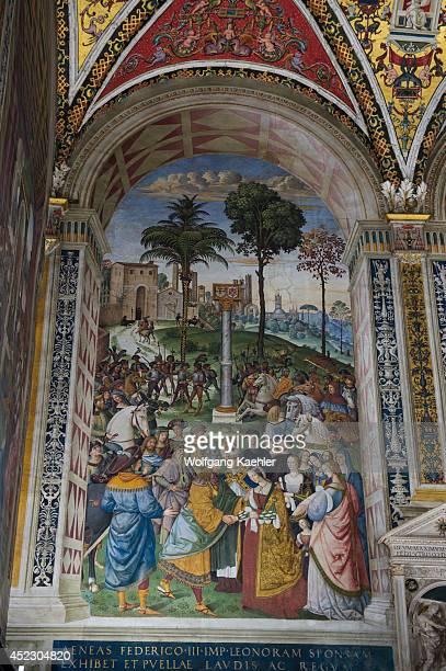 Fresco of Enea Silvio Piccolomini Presents Frederick Iii to Eleonora of Portugal 150208 in the Piccolomini Library in Siena Cathedral di Santa Maria...