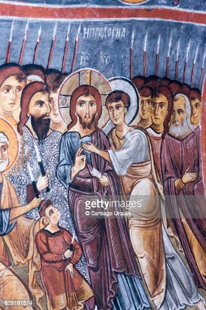 Fresco of Jesus Christ with his apostles