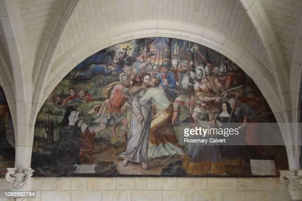 fresco of judas' betrayal of jesus, fontevraud abbey. - judas iscariot stock pictures, royalty-free photos & images