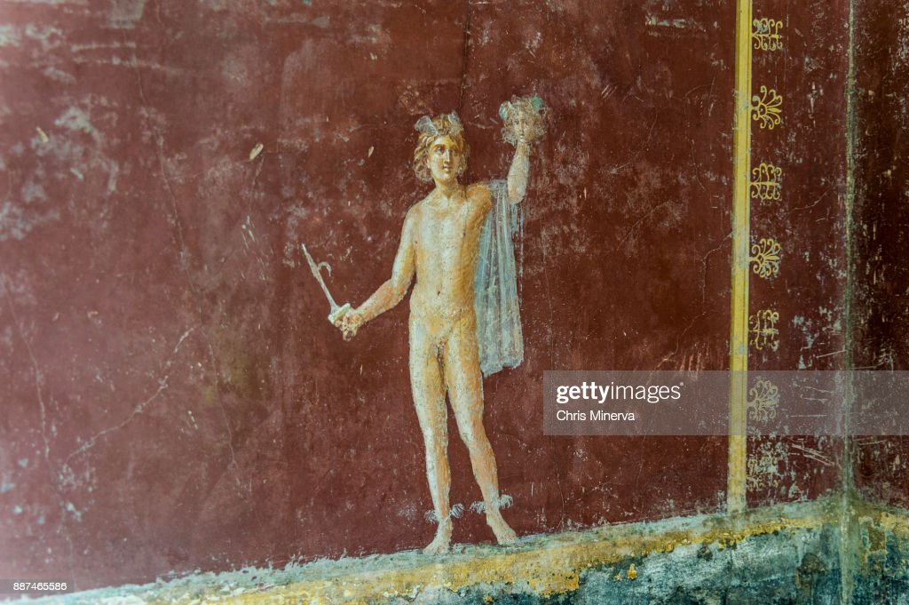 Fresco Of Perseus With The Head Of Medusa In Roman Ruins Of Villa ...