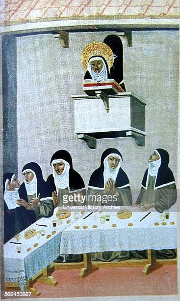 Fresco of Poor Clares at a table with a nun reading to them The nun reading is Beata Umilta and is therefore depicted with a halo Dated 10th Century