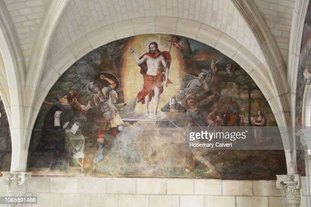 Fresco of sighting of Christ risen at entrance to tomb.