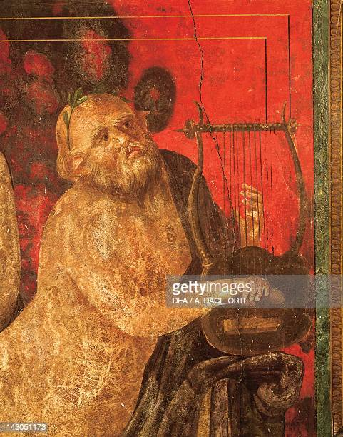 Fresco of Silenus playing the lyre from the Villa of the Mysteries Pompeii Campania Roman Civilization 1st Century