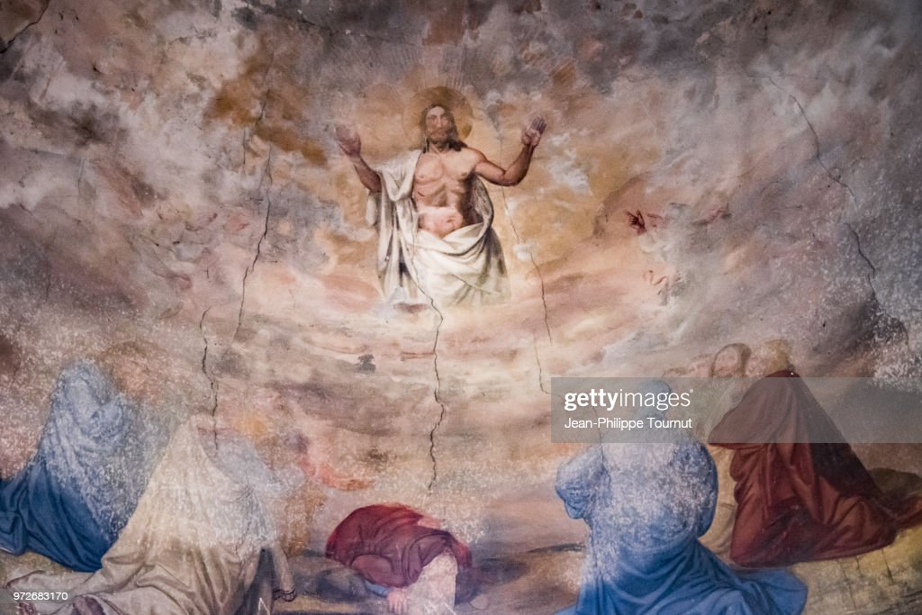 "Fresco of the Ceiling in the Church of ""Saint Jacques le Majeur"" (12th century), in the town of Villefranche d'Allier, Allier, France : Stock Photo"