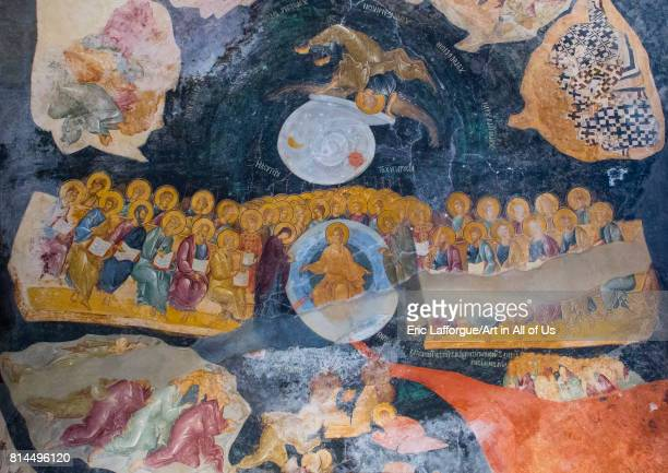 Fresco of the last judgment in the byzantine church of st Savior in Chora Edirnekap Istanbul Turkey on April 27 2014 in Istanbul Turkey