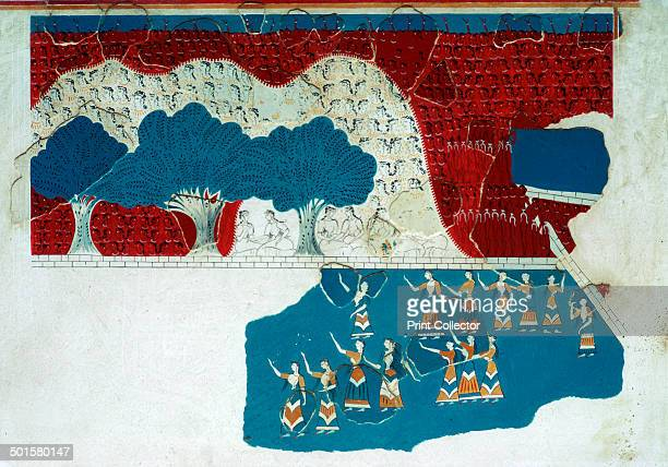 Fresco of the royal court of the Minoan palace at Knossos watching a performance at the palace 18th century BC