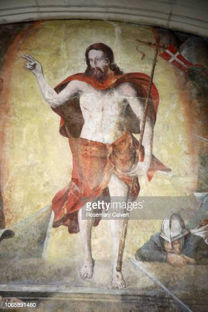Fresco of the sighting of Christ risen at entrance to tomb.