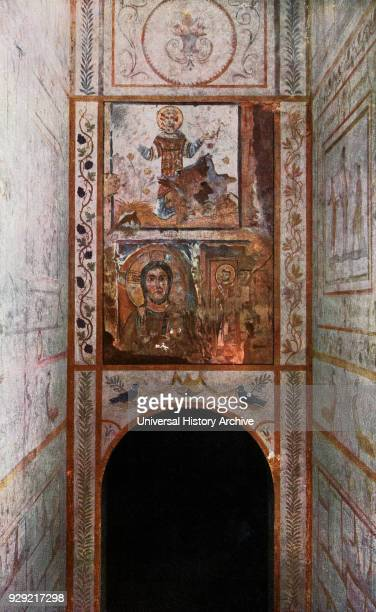 Fresco on the entrance to The Catacomb of Callixtus aka the Cemetery of Callixtus Appian Way Rome Italy The lower fresco represents Christ and St...