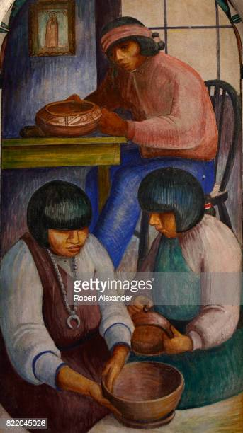A 1934 fresco painted by Will Shuster titled 'Pottery Making' depicts NativeAmericans making and decorating clay pots in their pueblo home The...