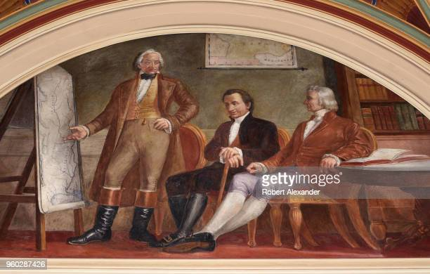 A fresco painted in the 1860s by Constantino Brumidi in the Senate Wing of the US Capitol in Washington DC depicts the historic Louisiana Purchase...