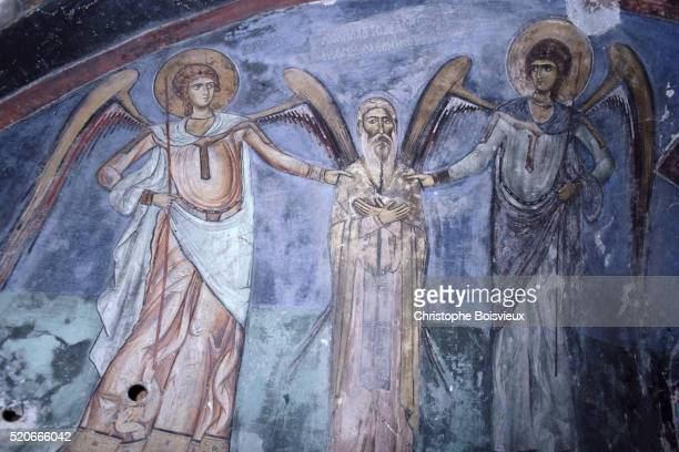 Fresco Painting of Angels and a Saint in the Ayios Neophytos Hermitage