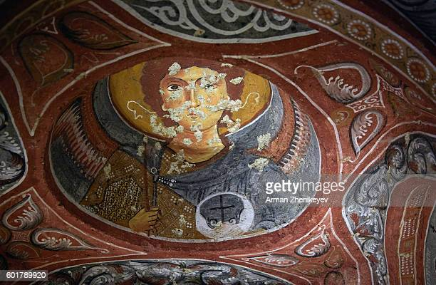 Cappadocia, Turkey - May 02, 2014: Fresco paintings depicting life of Jesus in ancient Christian Church, Goreme Open-Air Museum