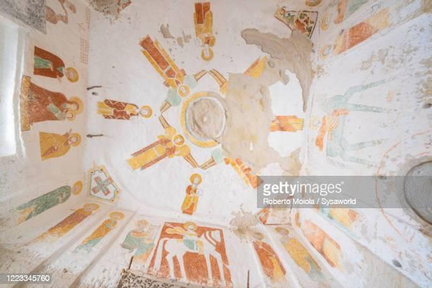 fresco paintings inside daniel korkor church, gheralta mountains, tigray, ethiopia - ancient stock pictures, royalty-free photos & images
