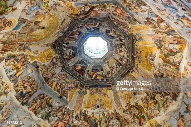 fresco paintings inside florence duomo - duomo santa maria del fiore stock pictures, royalty-free photos & images