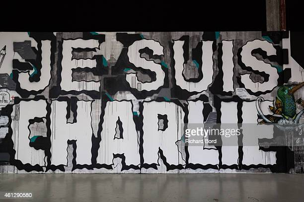 A fresco reading 'Je suis Charlie' painted by artists Andre Lek Sowat Cokney Alxone Legz Arnaud Liard MBS Hoctez Hugo Vitrani Jean Charles de...