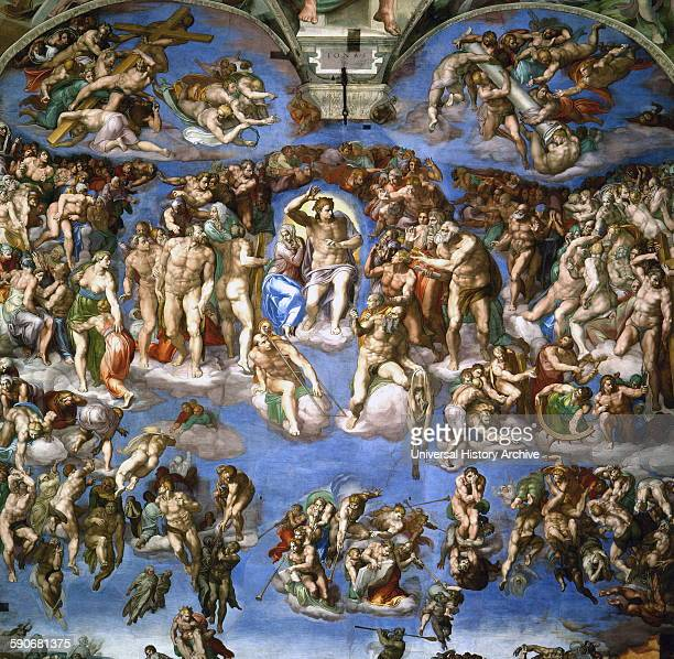 Fresco titled 'The Last Judgment' by Michelangelo di Lodovico Buonarroti Simoni an Italian sculptor painter architect poet and engineer of the High...