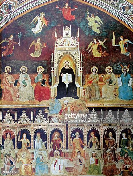 Fresco titled 'The Triumph of St Thomas' attributed to Andrea da Firenze St Thomas is depicted enthroned as the focus of an allegory on learning In...