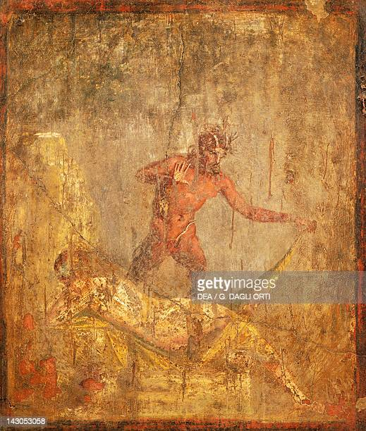 Fresco with an erotic subject depicting Nymph and Pan from Pompeii Campania Roman Civilization 1st Century Naples Museo Archeologico Nazionale