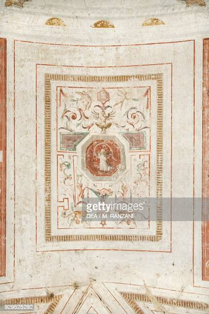Fresco with cherubs and grotesque figures vault of entrance hall by Andrea Tibaldi Landriano Castle belonged to the Taverna family Lombardy Italy...