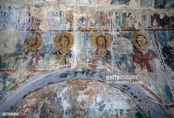 Fresco with Christ and the saints in the Byzantine church of Agios Georgios Vathi Crete Greece