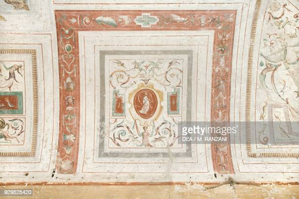 Fresco with female figure and grotesque figures vault of entrance hall by Andrea Tibaldi Landriano Castle belonged to the Taverna family Lombardy...
