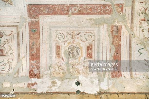 Fresco with grotesque figures vault of entrance hall by Andrea Tibaldi Landriano Castle belonged to the Taverna family Lombardy Italy 17th century...