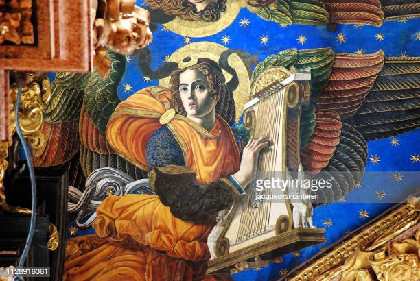 frescoe of an angel in the cathedral of valencia, spain - renaissance stock pictures, royalty-free photos & images