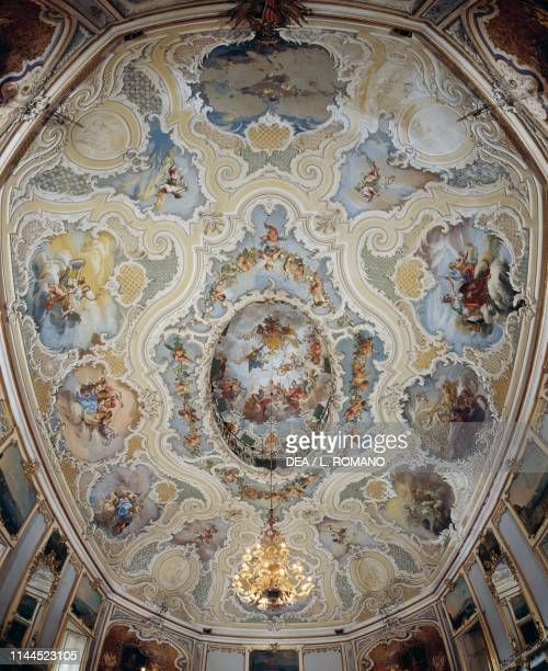 Frescoed ceiling in the banquet hall Biscari palace Catania Sicily Italy 18th century