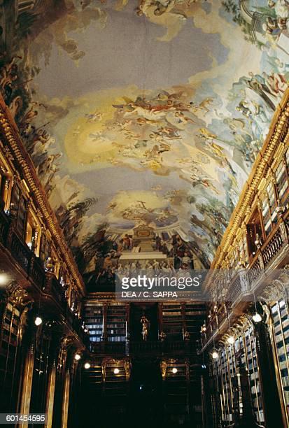 Frescoed ceiling in the Philosophy hall Strahov monastery Prague Czech Republic 18th century