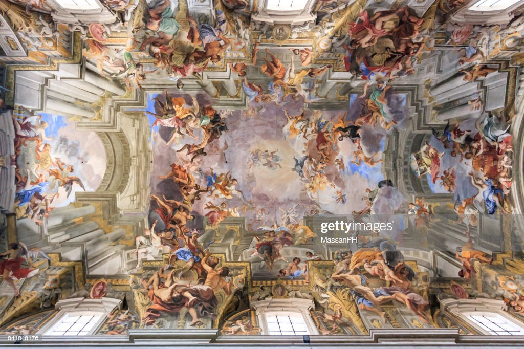 Frescoed ceiling of a cathedral in Rome : Stock Photo