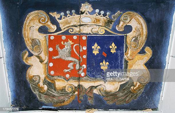 Frescoed coat of arms Lacapelle Castle MidiPyrenees France