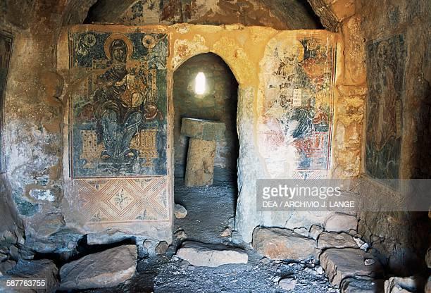 Frescoed interior of the Church of Agios Georgios Pentakia Mani peninsula Peloponnese Greece 11th century