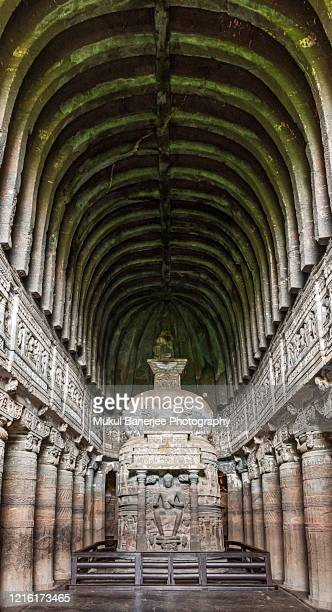 frescoed interiors of worship hall, buddhist caves at ajanta, maharashtra, india - ellora stock pictures, royalty-free photos & images