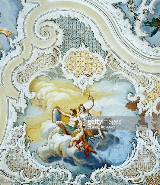 Frescoed vault of the Ballroom detail by Matteo Desiderato and Sebastiano Lo Monaco Palazzo Biscari Catania Sicily Italy 18th century