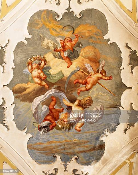 Frescoed vault of the Gallery Palazzo Biscari Catania Sicily Italy 18th century