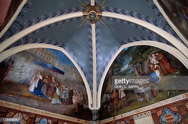 Frescoed vault Picomtal Castle Embrun ProvenceAlpesCote d'Azur France