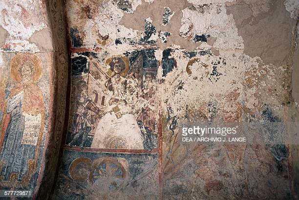 Frescoedwalls in the Church of Agios Georgios Komitades Crete Greece