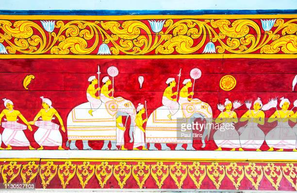 frescoes  at temple of tooth relic in kandy, sri lanka - kandy kandy district sri lanka stock pictures, royalty-free photos & images