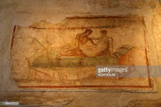 Frescoes depicting sexual realtions in the Lupanare In the archaeological area of Pompeii the ancient roman town buried by the eruption of Vesuvius...