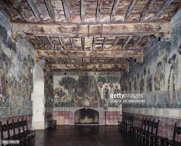 Frescoes in the Baronial Hall Castle of Manta Saluzzo Piedmont Italy 15th century