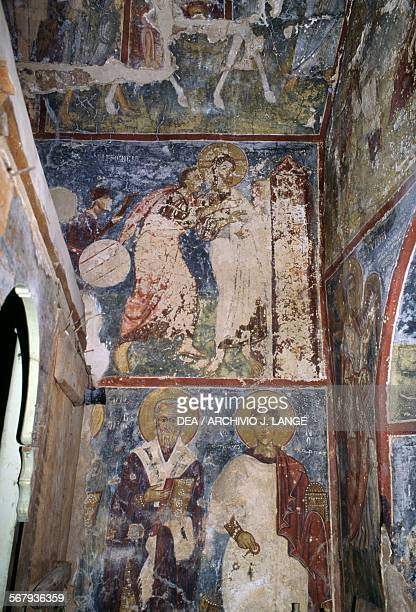 Frescoes in the Byzantine church of Agios Georgios Vathi Crete Greece
